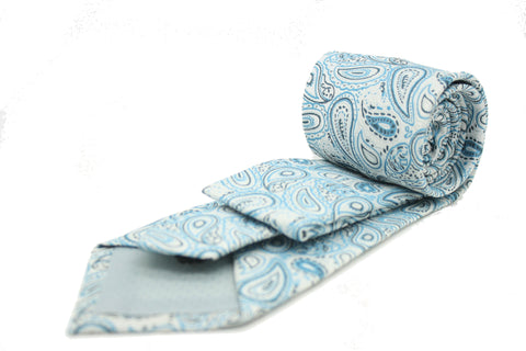 Mens Dads Classic Turquoise Paisley Pattern Business Casual Necktie & Hanky Set GF-5