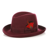 Premium Burgundy Godfather Hat - FHYINC best men's suits, tuxedos, formal men's wear wholesale