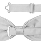 Gia Silver Satine Adjustable Bowtie - FHYINC best men's suits, tuxedos, formal men's wear wholesale