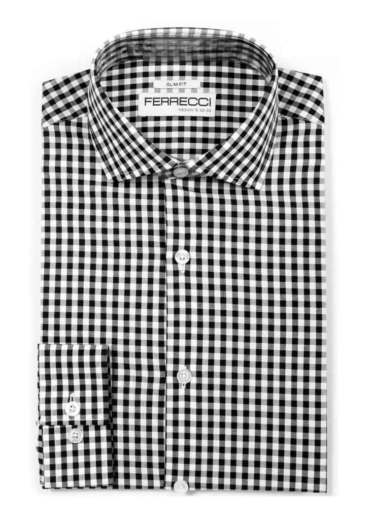 Black Gingham Check Dress Shirt - Slim Fit - FHYINC best men