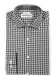 Black Gingham Check Dress Shirt - Slim Fit - FHYINC best men's suits, tuxedos, formal men's wear wholesale