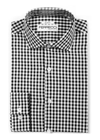 Black Gingham Check Dress Shirt - Slim Fit
