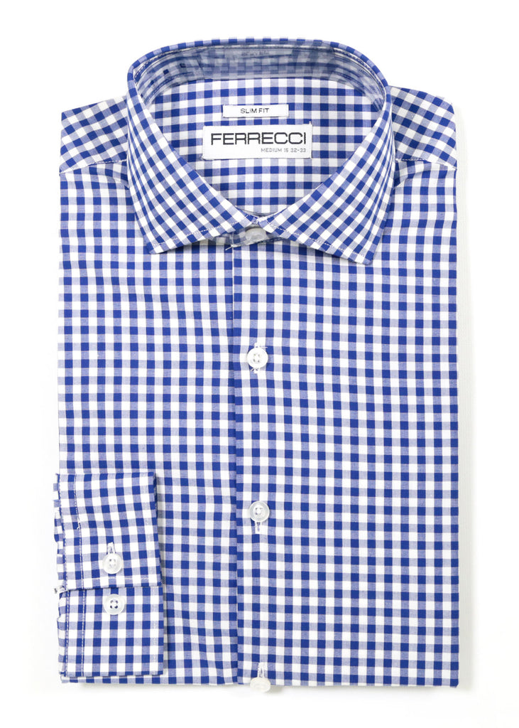 Blue Gingham Check Dress Shirt - Slim Fit - FHYINC best men