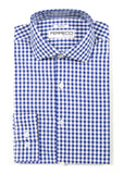 Blue Gingham Check Dress Shirt - Slim Fit - FHYINC best men's suits, tuxedos, formal men's wear wholesale