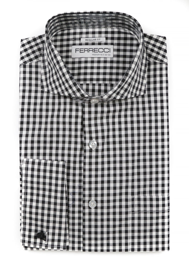 Black Gingham Check French Cuff Dress Shirt - Regular Fit - FHYINC best men