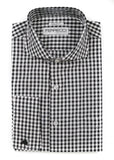 Black Gingham Check French Cuff Dress Shirt - Regular Fit - FHYINC best men's suits, tuxedos, formal men's wear wholesale