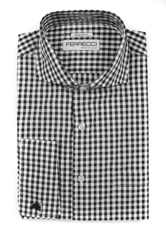Black Gingham Check French Cuff Dress Shirt - Regular Fit