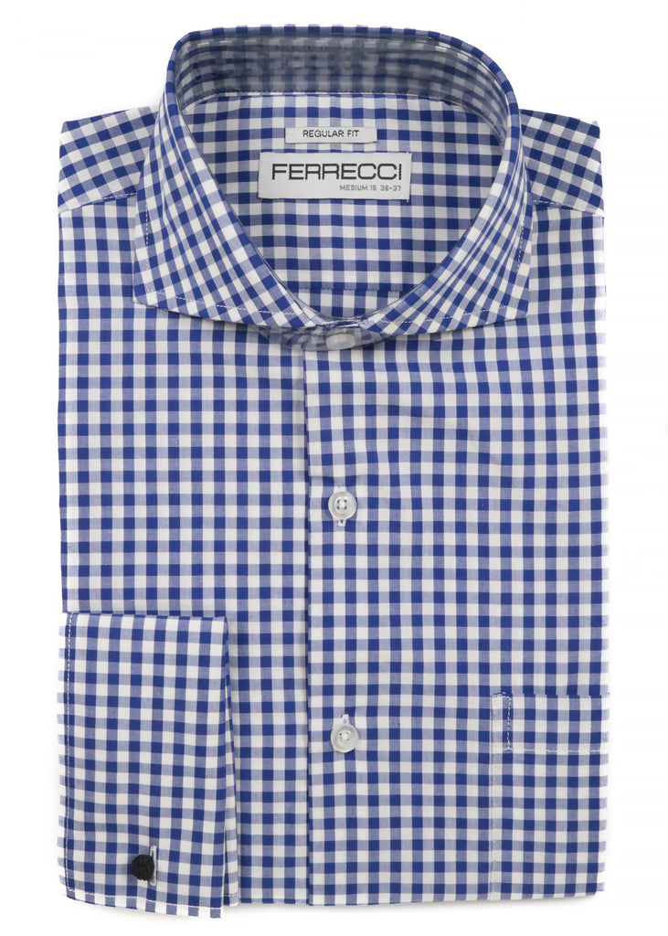 Blue Gingham Check French Cuff Dress Shirt - Regular Fit - FHYINC best men