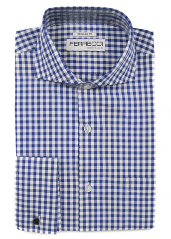 Blue Gingham Check French Cuff Dress Shirt - Regular Fit