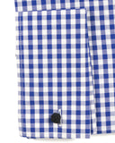 Blue Gingham Check French Cuff Dress Shirt - Regular Fit - FHYINC best men's suits, tuxedos, formal men's wear wholesale