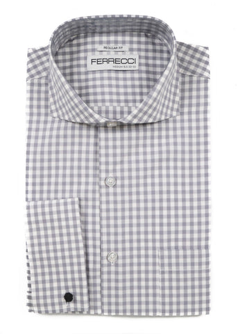 Grey Gingham Check French Cuff Dress Shirt - Regular Fit