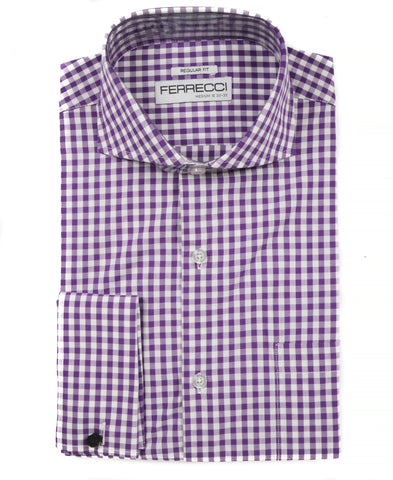 Purple Gingham Check French Cuff Dress Shirt - Regular Fit