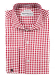 Red Gingham Check French Cuff Dress Shirt - Regular Fit - FHYINC