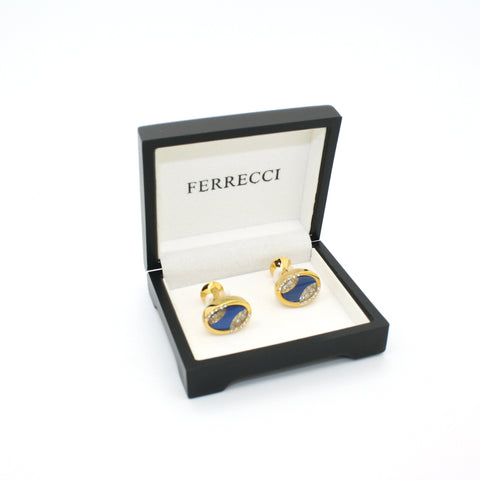 Goldtone Blue Sway Gemstone Cuff Links With Jewelry Box