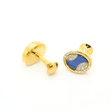Goldtone Blue Sway Gemstone Cuff Links With Jewelry Box - FHYINC best men's suits, tuxedos, formal men's wear wholesale