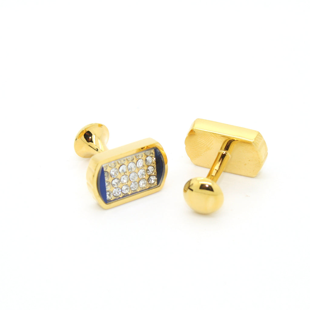 Goldtone Blue Glass White Stone Cuff Links With Jewelry Box - FHYINC best men