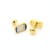 Goldtone Blue Glass White Stone Cuff Links With Jewelry Box - FHYINC best men's suits, tuxedos, formal men's wear wholesale