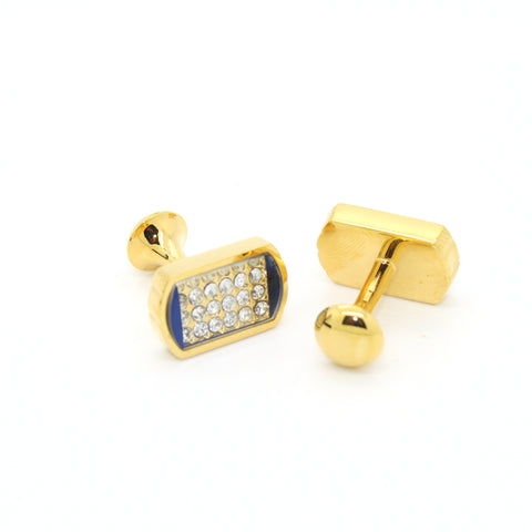 Goldtone Blue Glass White Stone Cuff Links With Jewelry Box