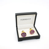 goldtone Purple Glass Stone Cuff Links With Jewelry Box - FHYINC best men's suits, tuxedos, formal men's wear wholesale
