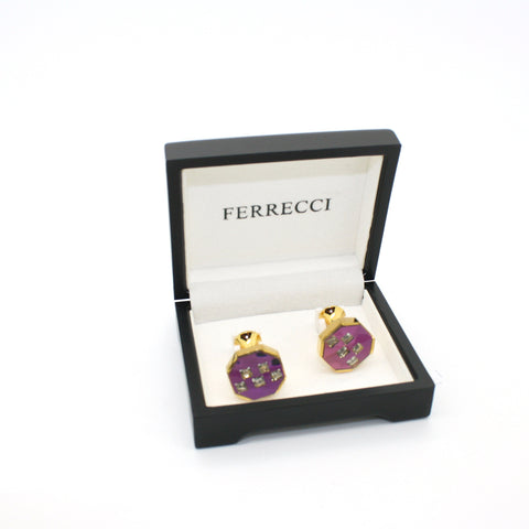 goldtone Purple Glass Stone Cuff Links With Jewelry Box