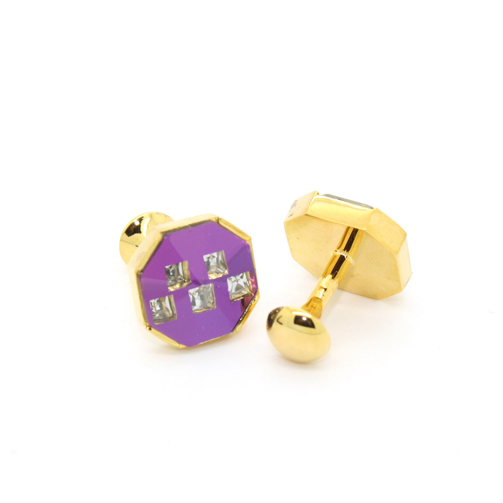 goldtone Purple Glass Stone Cuff Links With Jewelry Box - FHYINC best men