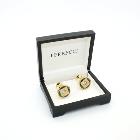 Goldtone Blue Center Glass Stone Cuff Links With Jewelry Box