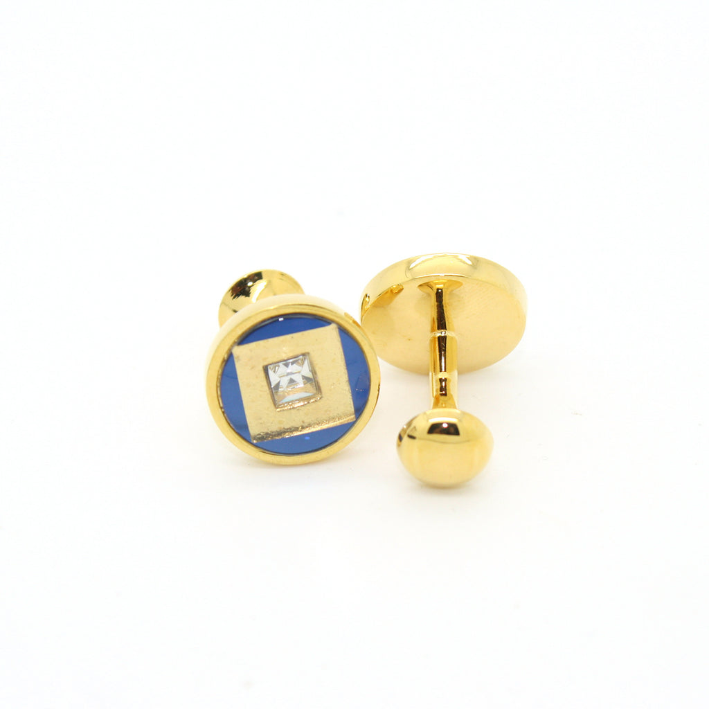 Goldtone Blue Center Glass Stone Cuff Links With Jewelry Box - FHYINC best men
