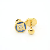 Goldtone Blue Center Glass Stone Cuff Links With Jewelry Box - FHYINC best men's suits, tuxedos, formal men's wear wholesale