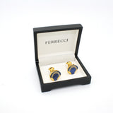 Goldtone Round Blue Glass Cuff Links With Jewelry Box - FHYINC best men's suits, tuxedos, formal men's wear wholesale