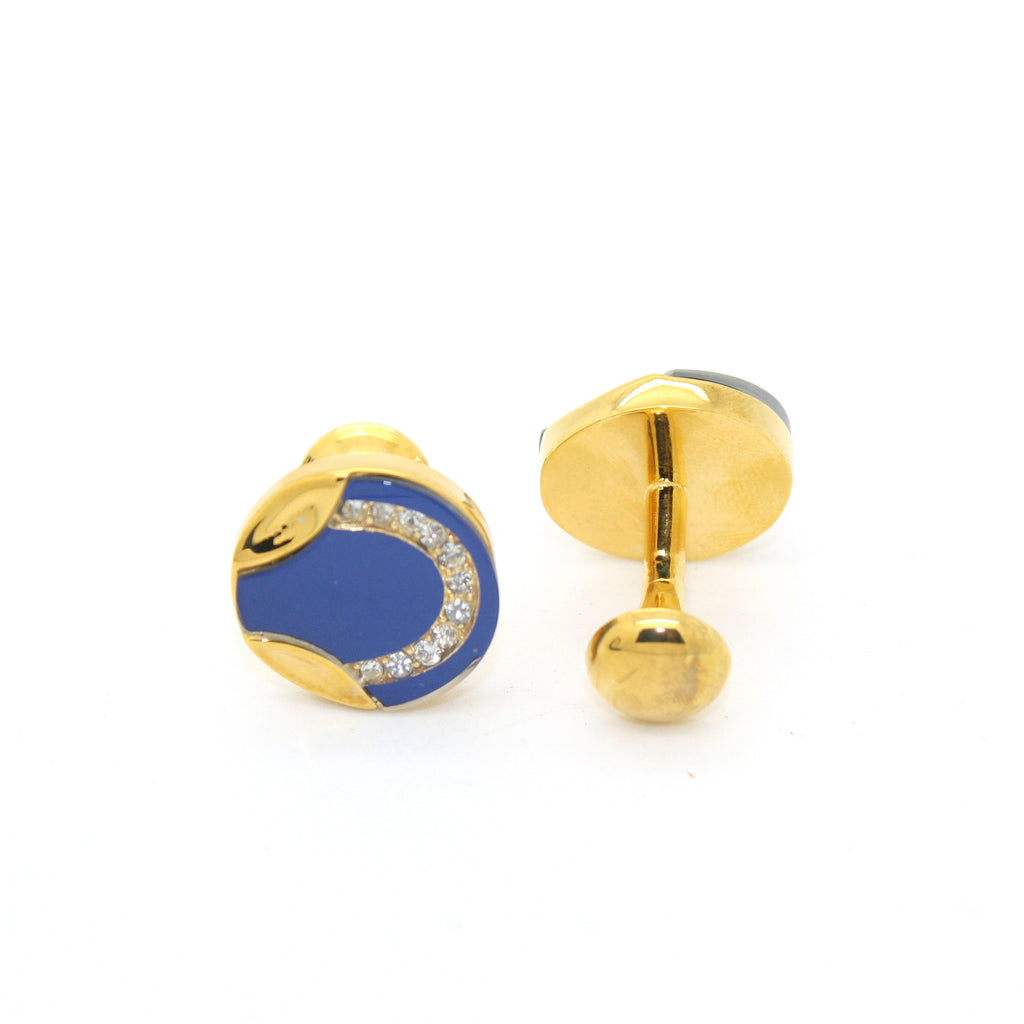 Goldtone Round Blue Glass Cuff Links With Jewelry Box - FHYINC best men
