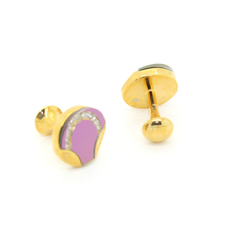 Goldtone Purple Glass Cuff Links With Jewelry Box - FHYINC best men