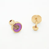 Goldtone Purple Glass Gemstone Cuff Links With Jewelry Box - FHYINC best men's suits, tuxedos, formal men's wear wholesale