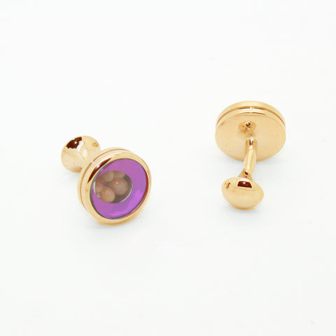 Goldtone Purple Glass Gemstone Cuff Links With Jewelry Box