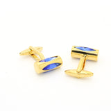 Goldtone Blue Opal Cuff Links With Jewelry Box - FHYINC best men's suits, tuxedos, formal men's wear wholesale