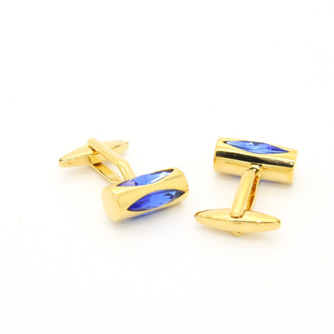 Silvertone Circle Blue Gemstone Cufflinks with Jewelry Box