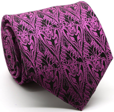 Mens Dads Classic Fuchsia Paisley Pattern Business Casual Necktie & Hanky Set GO-5