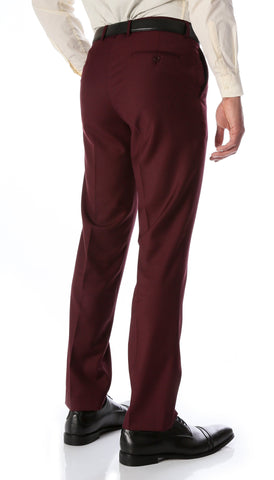 Ferrecci Men's Halo Burgundy Slim Fit Flat-Front Dress Pants