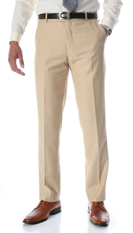 Ferrecci Men's Halo Tan Slim Fit Flat-Front Dress Pants