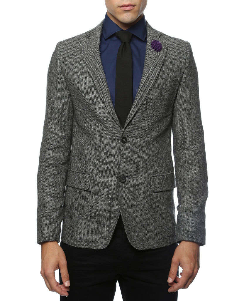 The Hardy Grey Herringbone Super Slim Fit Mens Blazer - FHYINC best men