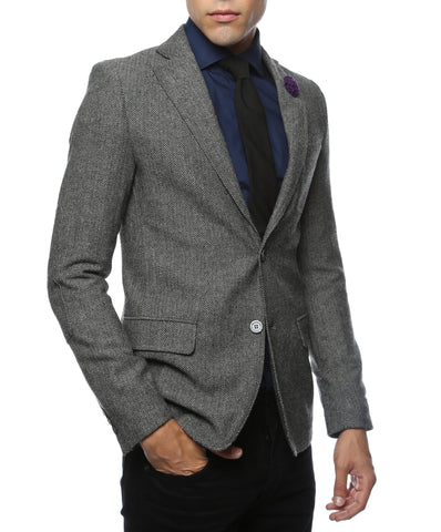 The Hardy Grey Herringbone Super Slim Fit Mens Blazer