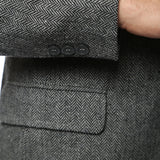 The Hardy Grey Herringbone Super Slim Fit Mens Blazer - FHYINC best men's suits, tuxedos, formal men's wear wholesale