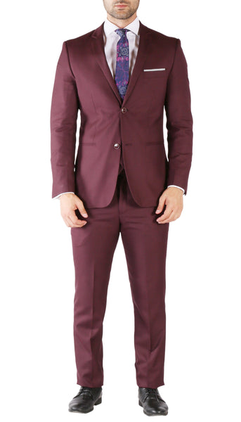 Hart 3pc Slim Fit Bugundy Suit