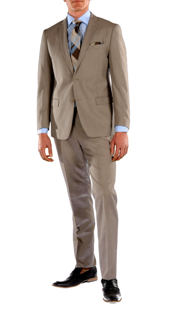 Brown Slim Fit Suit - 2PC - HART - FHYINC best men