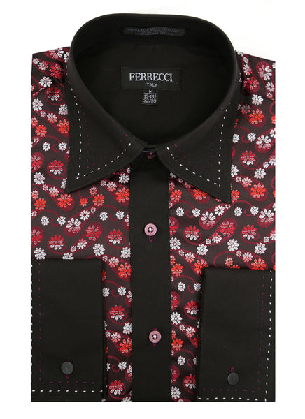 Ferrecci Men's Satine Hi-1001 Red & Black Flower Button Down Dress Shirt - FHYINC best men's suits, tuxedos, formal men's wear wholesale