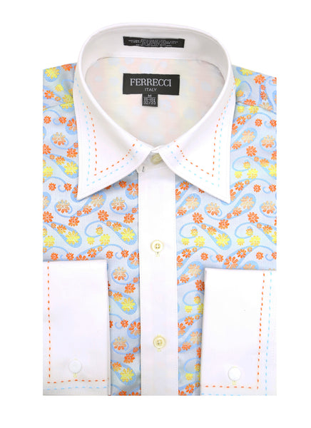 Ferrecci Men's Satine Hi-1002 Multi Color Flower Button Down Dress Shirt - FHYINC best men's suits, tuxedos, formal men's wear wholesale