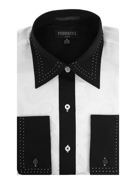 Ferrecci Men's Satine Hi-1003 White Black Flower Button Down Dress Shirt - FHYINC best men's suits, tuxedos, formal men's wear wholesale