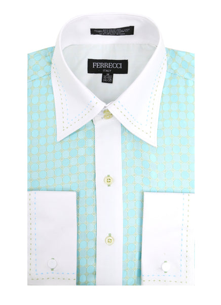 Ferrecci Men's Satine Hi-1004 Turquoise Circle Pattern Button Down Dress Shirt - FHYINC best men's suits, tuxedos, formal men's wear wholesale