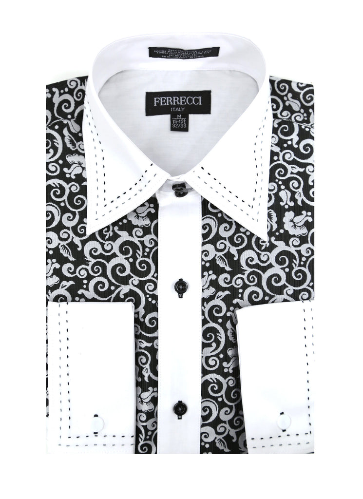Ferrecci Men's Satine Hi-1006 Black & White Scroll Pattern Button Down Dress Shirt - FHYINC best men's suits, tuxedos, formal men's wear wholesale