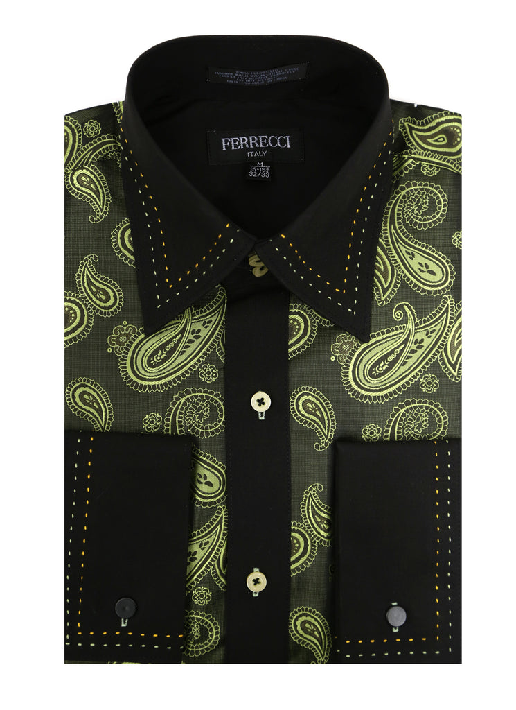 Ferrecci Men's Satine Hi-1010 Green Paisley Button Down Dress Shirt - FHYINC best men's suits, tuxedos, formal men's wear wholesale