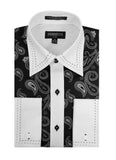 Ferrecci Men's Satine Hi-1014 White & Black Paisley Button Down Dress Shirt - FHYINC